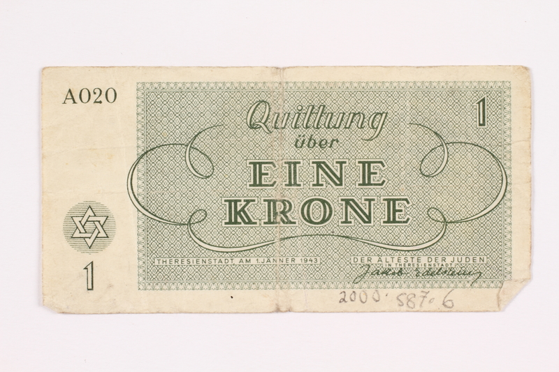 2000.587.6 back Theresienstadt ghetto-labor camp scrip, 1 krone note