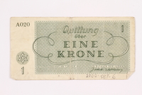 2000.587.6 back Theresienstadt ghetto-labor camp scrip, 1 krone note  Click to enlarge