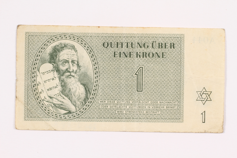 2000.587.7 front Theresienstadt ghetto-labor camp scrip, 1 krone note