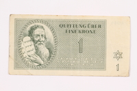 2000.587.7 front Theresienstadt ghetto-labor camp scrip, 1 krone note  Click to enlarge