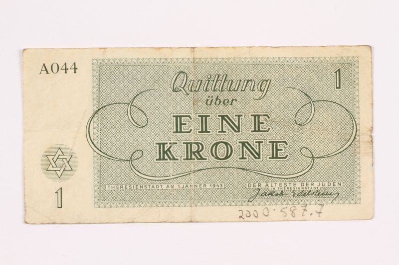 2000.587.7 back Theresienstadt ghetto-labor camp scrip, 1 krone note