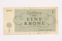 2000.587.7 back Theresienstadt ghetto-labor camp scrip, 1 krone note  Click to enlarge
