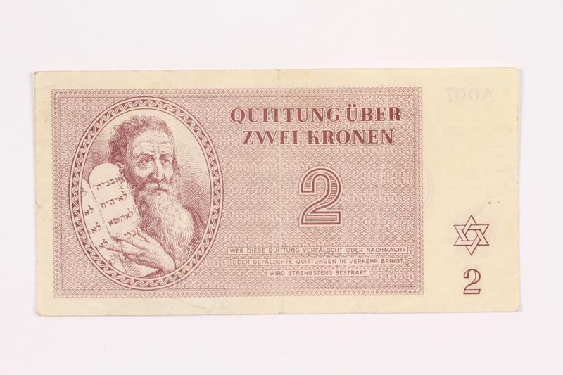 2000.587.8 front Theresienstadt ghetto-labor camp scrip, 2 kronen note