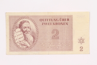 2000.587.8 front Theresienstadt ghetto-labor camp scrip, 2 kronen note  Click to enlarge