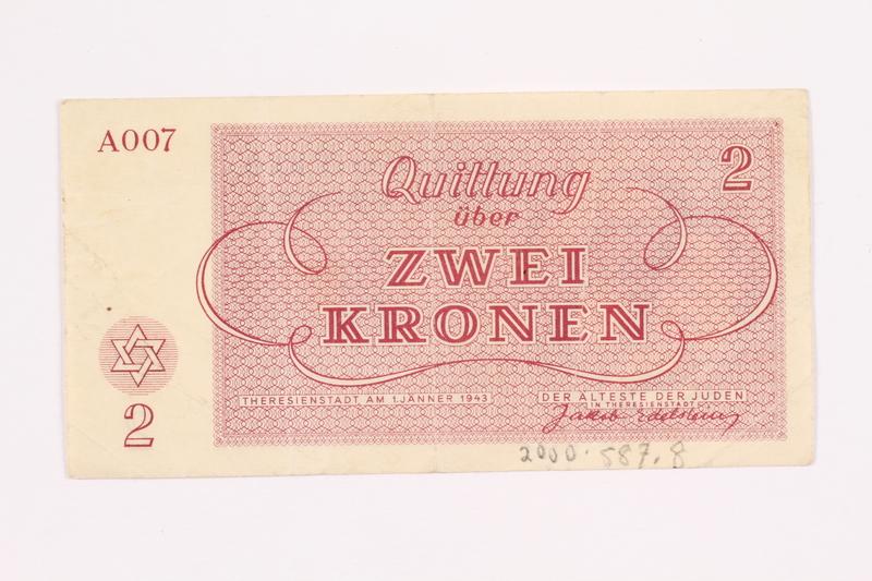 2000.587.8 back Theresienstadt ghetto-labor camp scrip, 2 kronen note
