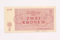 2000.587.8 back Theresienstadt ghetto-labor camp scrip, 2 kronen note  Click to enlarge