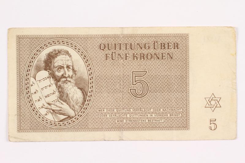 2000.587.9 front Theresienstadt ghetto-labor camp scrip, 5 kronen note