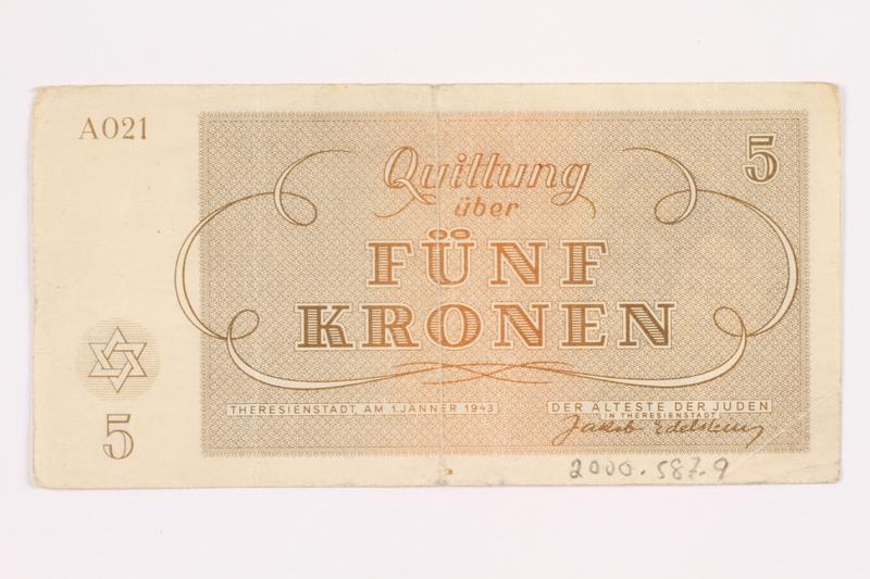 2000.587.9 back Theresienstadt ghetto-labor camp scrip, 5 kronen note