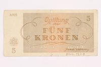 2000.587.9 back Theresienstadt ghetto-labor camp scrip, 5 kronen note  Click to enlarge