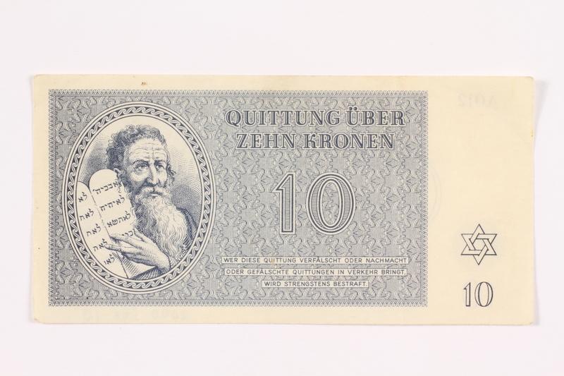 2000.587.10 front Theresienstadt ghetto-labor camp scrip, 10 kronen note