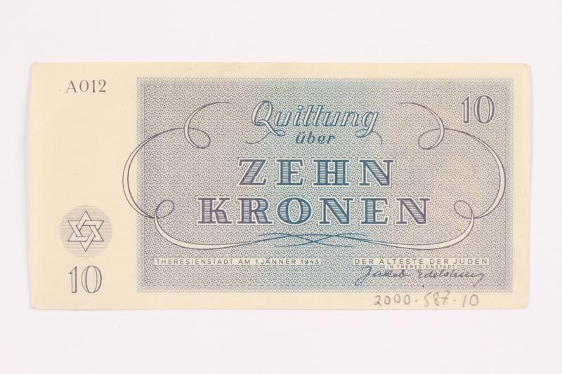 2000.587.10 back Theresienstadt ghetto-labor camp scrip, 10 kronen note