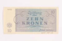 2000.587.10 back Theresienstadt ghetto-labor camp scrip, 10 kronen note  Click to enlarge
