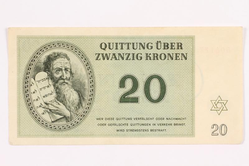 2000.587.11 front Theresienstadt ghetto-labor camp scrip, 20 kronen note