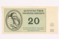 2000.587.11 front Theresienstadt ghetto-labor camp scrip, 20 kronen note  Click to enlarge