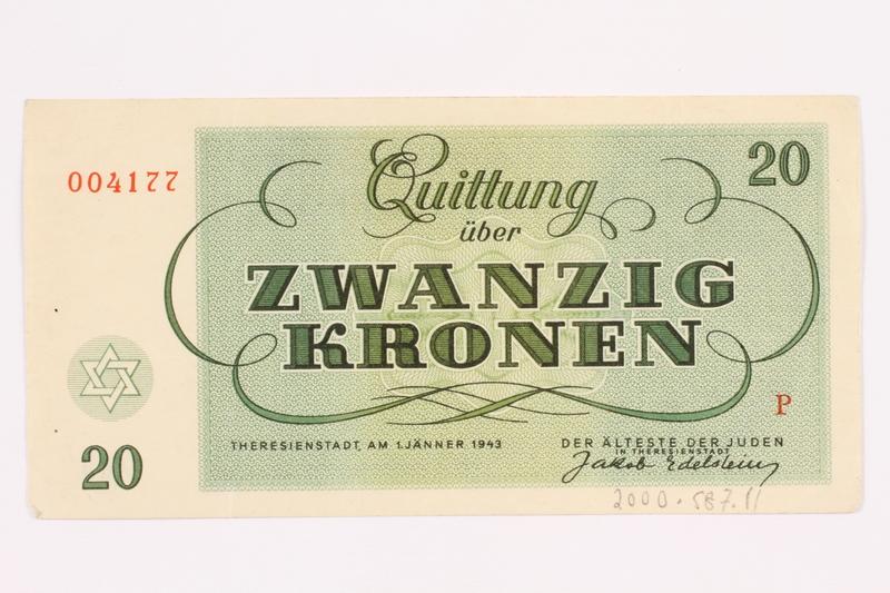2000.587.11 back Theresienstadt ghetto-labor camp scrip, 20 kronen note