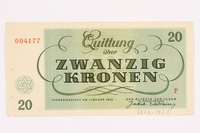 2000.587.11 back Theresienstadt ghetto-labor camp scrip, 20 kronen note  Click to enlarge