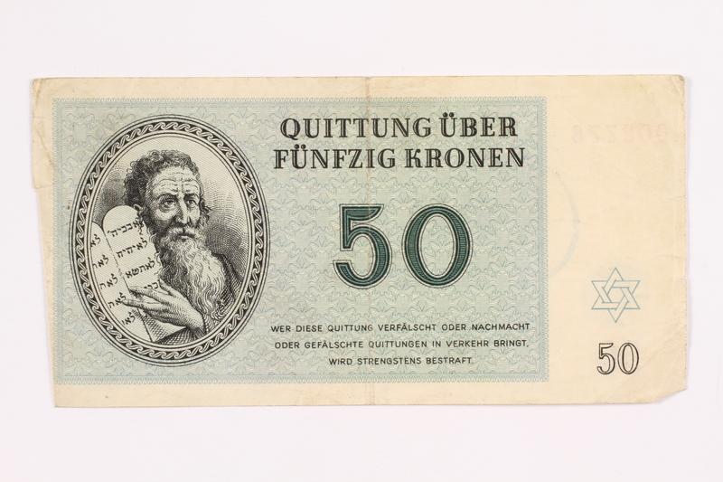 2000.587.12 front Theresienstadt ghetto-labor camp scrip, 50 kronen note