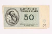 2000.587.12 front Theresienstadt ghetto-labor camp scrip, 50 kronen note  Click to enlarge