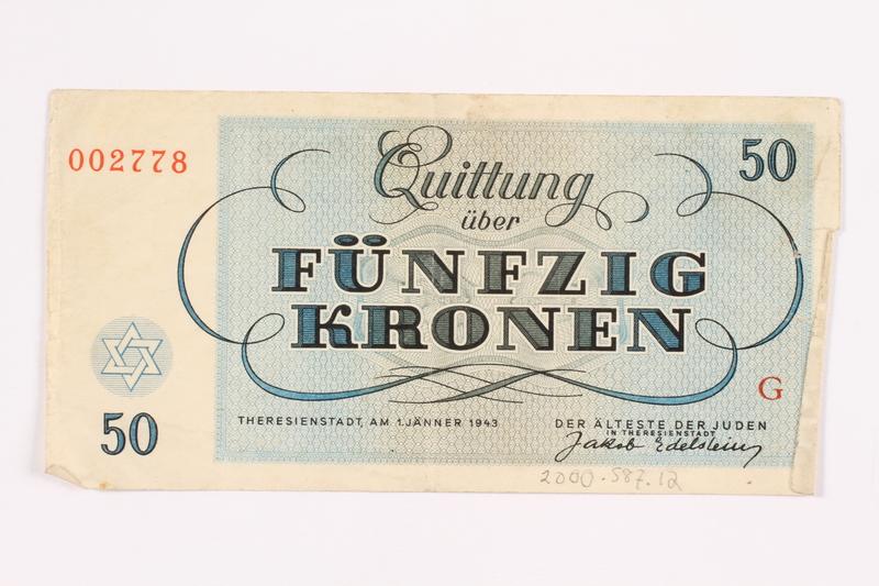 2000.587.12 back Theresienstadt ghetto-labor camp scrip, 50 kronen note