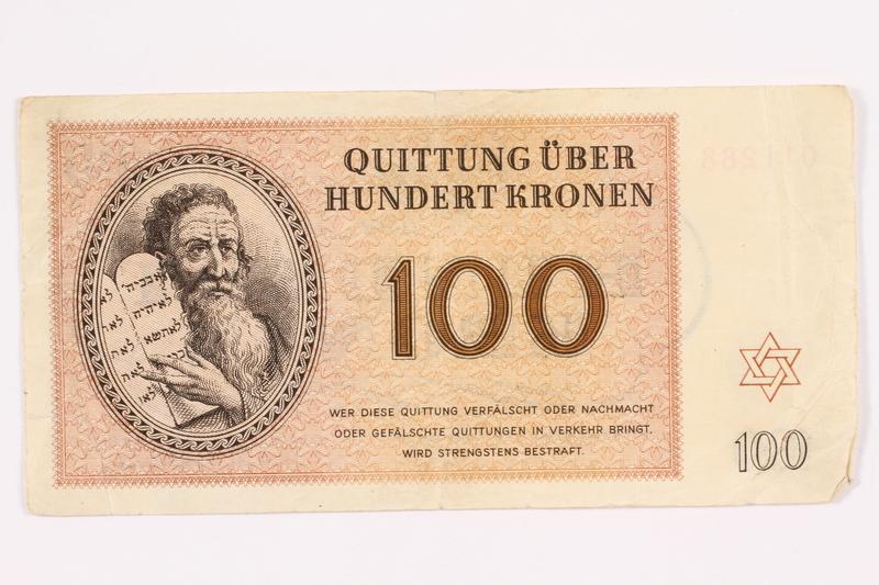 2000.587.13 front Theresienstadt ghetto-labor camp scrip, 100 kronen note
