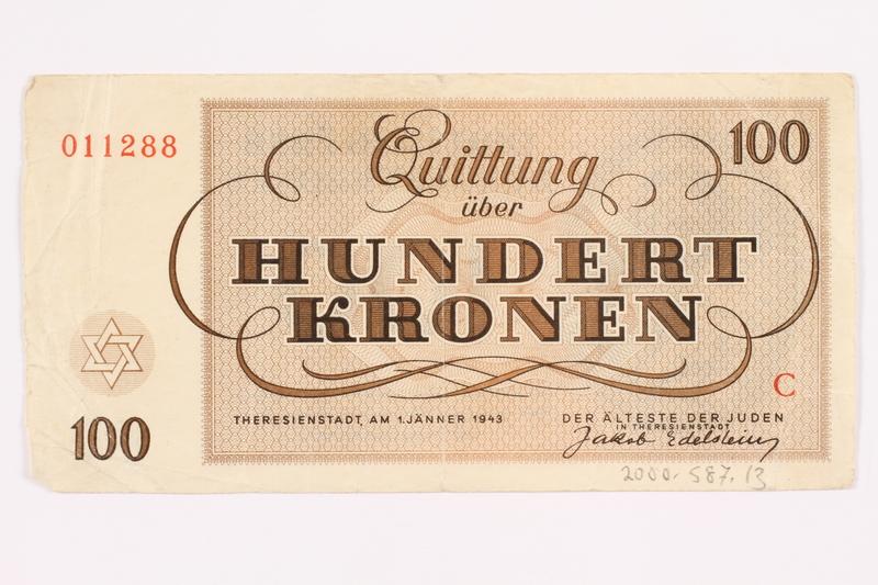 2000.587.13 back Theresienstadt ghetto-labor camp scrip, 100 kronen note