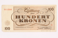 2000.587.13 back Theresienstadt ghetto-labor camp scrip, 100 kronen note  Click to enlarge