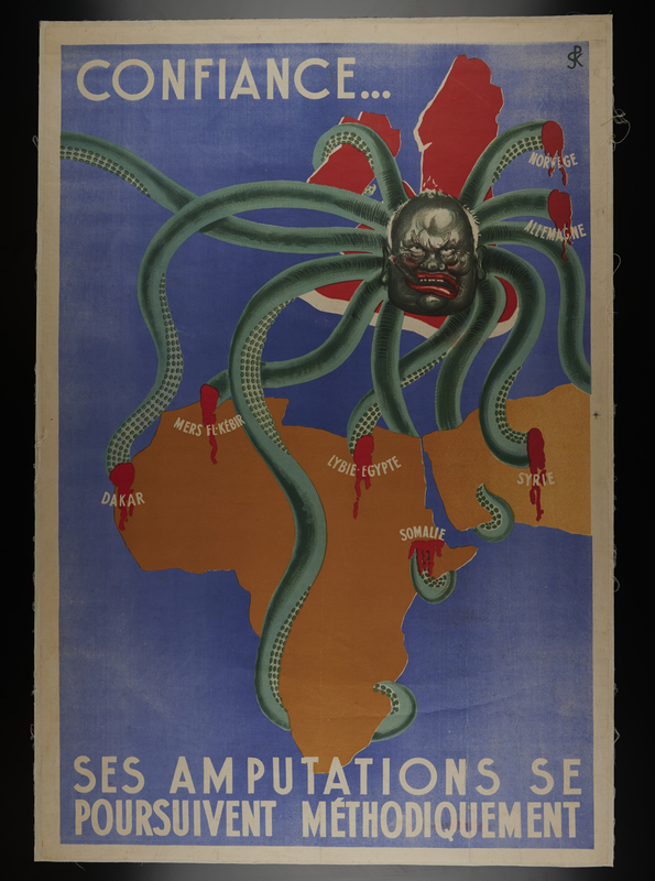 2001.349.3 front Anti-British propaganda poster showing Churchill's tentacles cut out of Africa and the Middle East