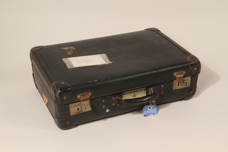 2004.301.2 closed Black Vulcanfiber suitcase used by a Dutch Jewish family while in hiding