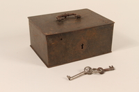 2004.301.3_a-c front Strongbox and 2 skeleton keys used by a Dutch resistance member  Click to enlarge