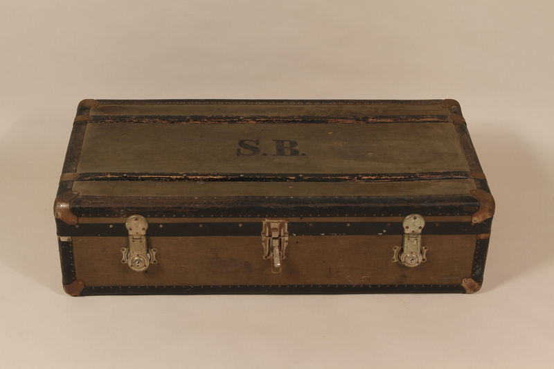 2004.321.3 front Large flat top trunk monogrammed SB used by a German Jewish refugee