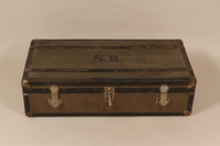 2004.321.3 front Large flat top trunk monogrammed SB used by a German Jewish refugee  Click to enlarge