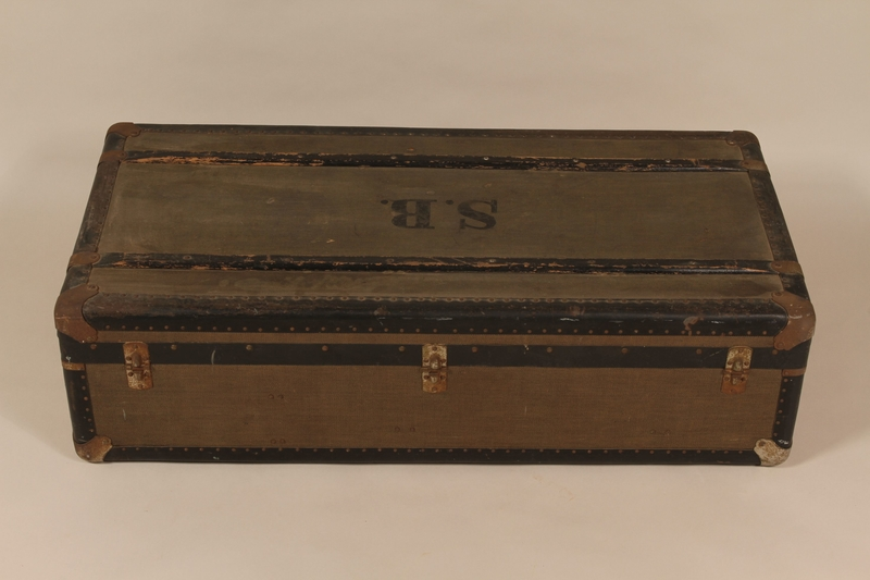 2004.321.3 back Large flat top trunk monogrammed SB used by a German Jewish refugee