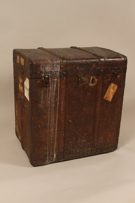 2004.322.1 front Wooden canvas covered trunk used by Jewish refugees