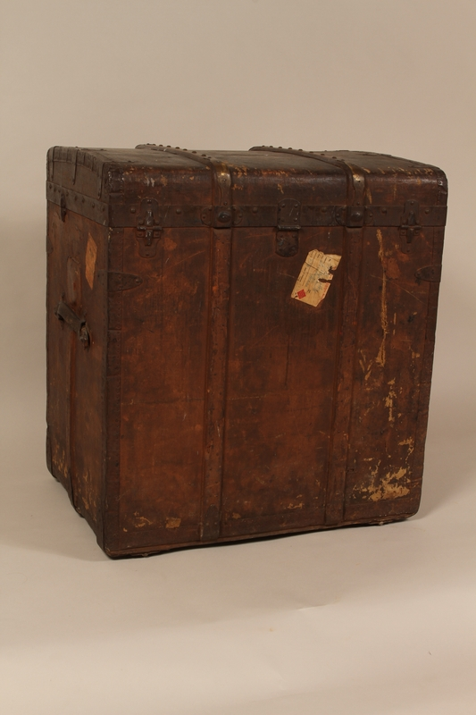 2004.322.1 back Wooden canvas covered trunk used by Jewish refugees