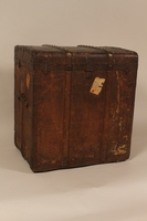2004.322.1 back Wooden canvas covered trunk used by Jewish refugees  Click to enlarge