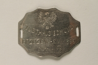 2000.603.2 front Dog tag identification issued to a Jewish medical officer, 2nd Polish Corps  Click to enlarge
