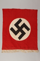 1997.132.2 front Nazi banner with swastika and white fringe  Click to enlarge