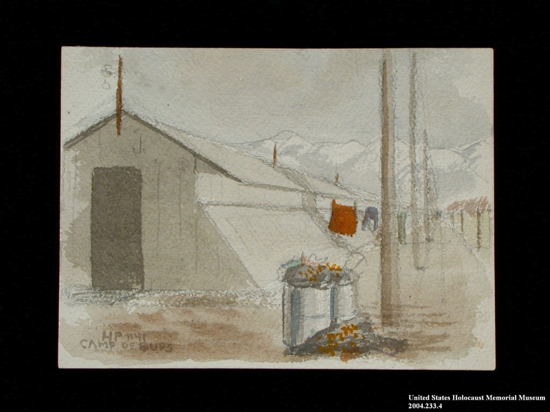 2004.233.4 front Watercolor scene of barracks and snowy mountains at Gurs internment camp made by an inmate