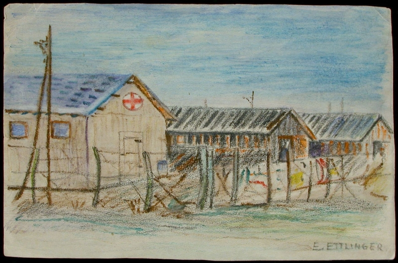 2004.233.5 front Colored pencil drawing of barracks at Gurs internment camp made by an inmate