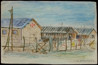2004.233.5 front Colored pencil drawing of barracks at Gurs internment camp made by an inmate  Click to enlarge