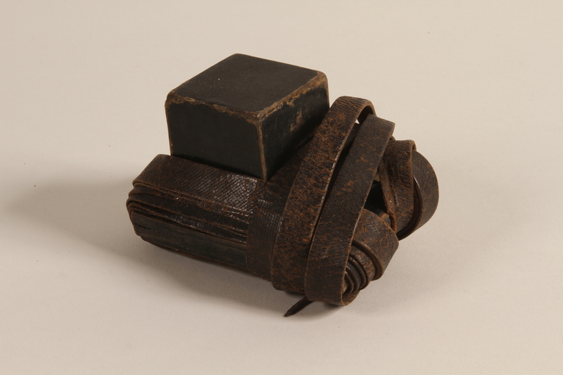 2004.410.1 b front Set of tefillin acquired by a Soviet Jewish soldier
