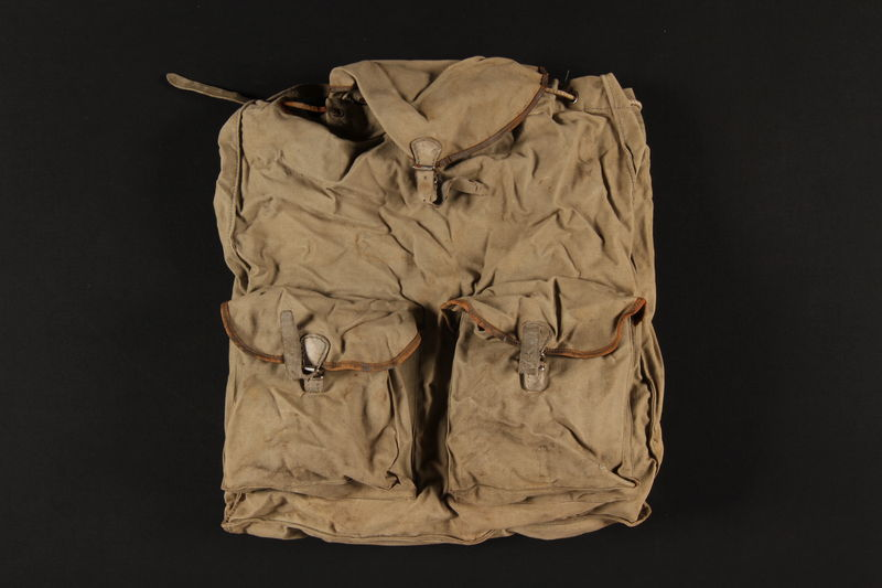 2004.485.6 front Khaki canvas knapsack brought to the US by a German Jewish refugee
