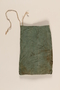 Green drawstring cloth pouch brought to the US by a German Jewish refugee