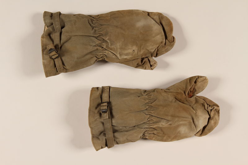 2004.485.9_a-b front Pair of khaki ski mittens used by a German Jewish emigre in the US
