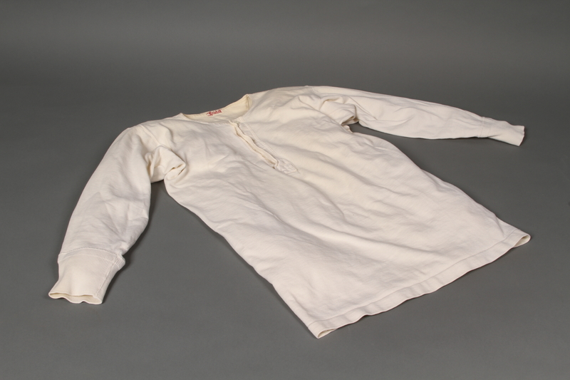 2004.485.13 front Long sleeved Henley undershirt brought to the US by a German Jewish refugee