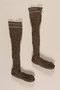 Pair of brown and white wool knit kneesocks brought to the US by a German Jewish refugee