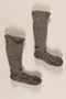 Pair of gray and white wool knit socks brought to the US by a German Jewish refugee
