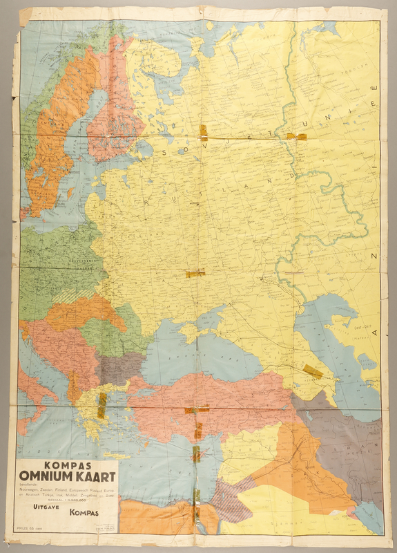 1991.226.49 front Map of Eastern Europe and the Middle East owned by a Dutch Jewish boy while living in hiding