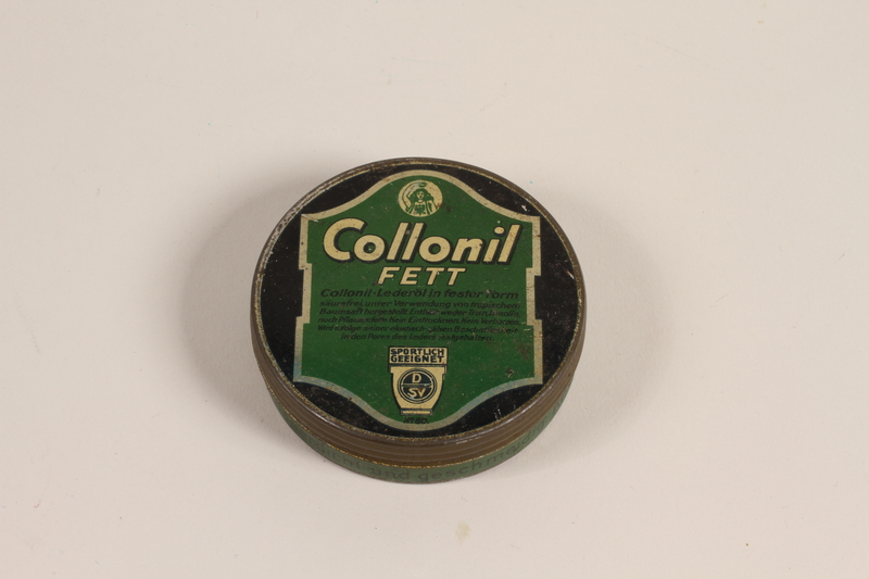 2004.485.46 front Used Collonil leather oil brought to the US by a German Jewish refugee