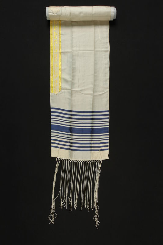 2004.524.16 front Blue striped tallit with an embroidered neckband owned by a German Jewish refugee